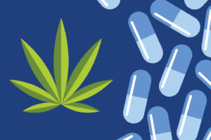 Vector illustration of blue pill capsules on a darker blue background.